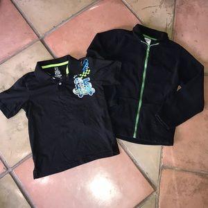 Children place light jacket matching collar shirt